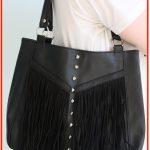 DIY Studded Fringed Leather Biker Handbag