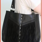 DIY Studded Fringed Leather Biker Handbag