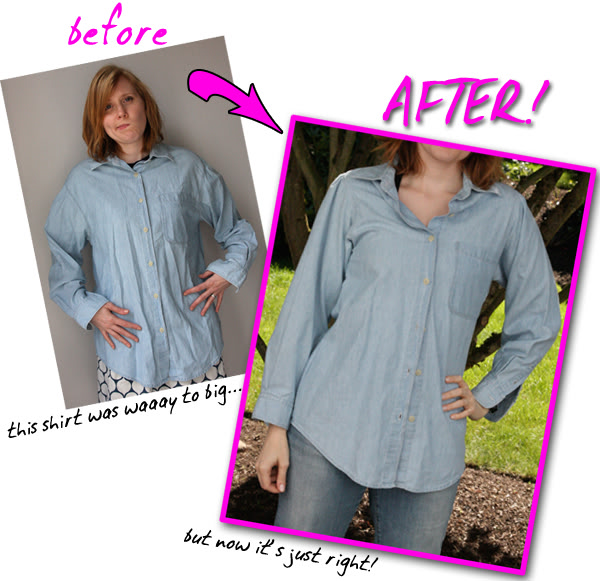 How to Fit a Button-Down Shirt before and after