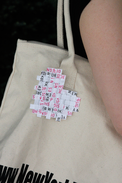 DIY Woven Heart Pin on NYDS tote bag
