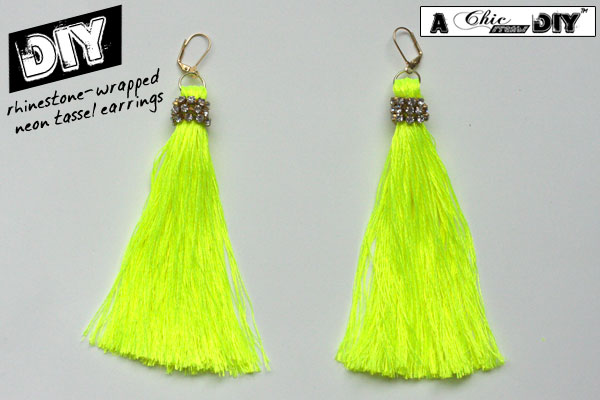 Diy Rhinestone Wrapped Neon Tassel Earrings Chic Creative Life