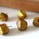 DIY Glittery Gold Nugget Geometric Pushpins for the Office Corkboard
