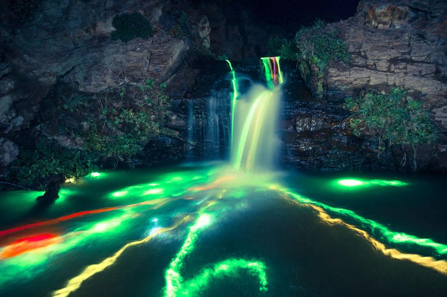 glow-sticks-dropped-into-waterfalls-lenz-abildgaard-1