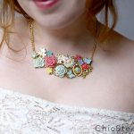DIY Enamel Spring Flower Bib Necklace with Martha Stewart Jewelry