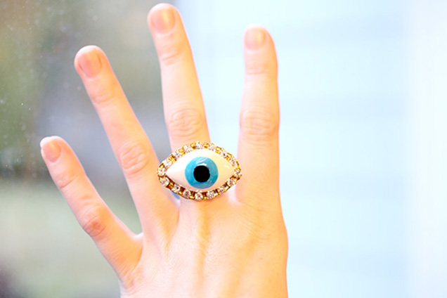 DIY Evil Eye Ring from clay, paint, and rhinestones