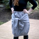 DIY Skirt with Tied Sleeves in Front…from a Sweatshirt