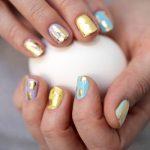 DIY Gold-Speckled Easter Egg Nails