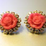 DIY Prada-Inspired Rose Cabochon Rhinestone Stud Earrings