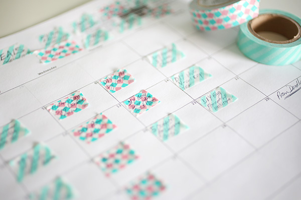 Close up of days on DIY Washi Tape Blog Planner