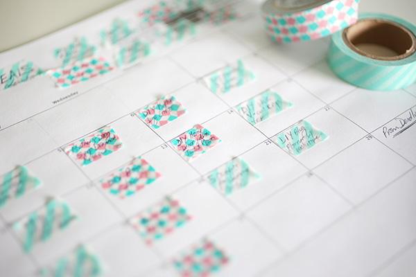 Close up of days on DIY Washi Tape Blog Planner