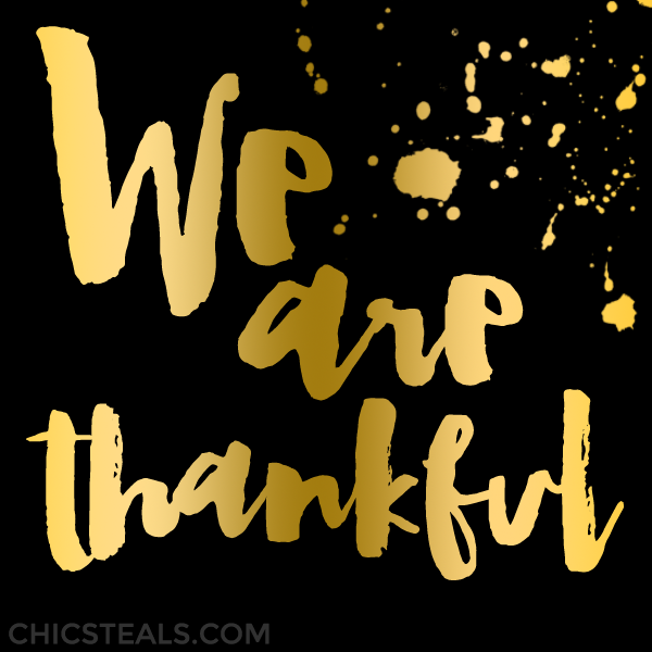 We are thankful typography quote by Chic Steals