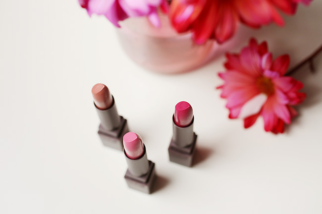 Burt's Bees lipsticks, 3 colors with red flowers