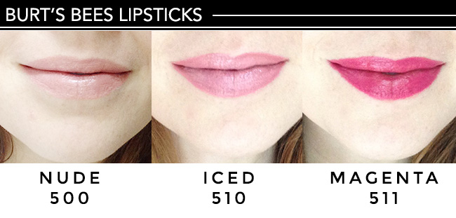 Burt's Bees lipsticks 3 colors on lips, fair skin