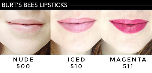 Burt's Bees lipsticks 3 colors on lips, fair skin