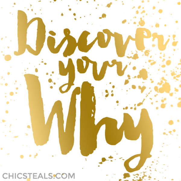 Discover Your WHY gold typography quote