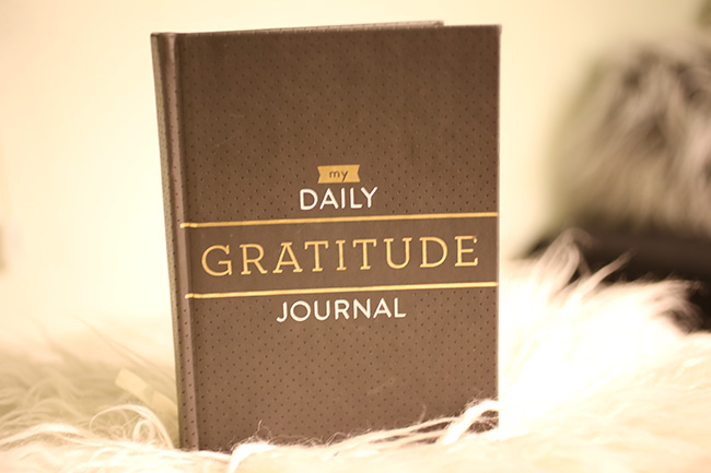Gratitude Journal on faux fur footstool