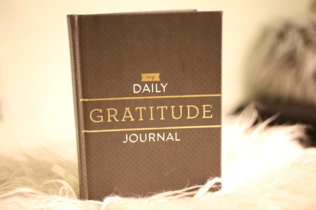 Gratitude Journal on faux fur footstool