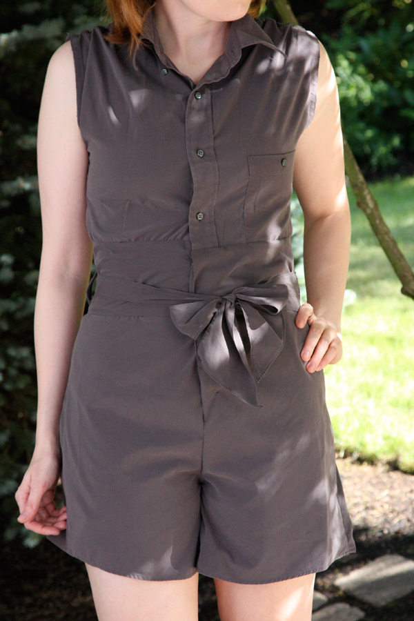 Romper Jumpsuit from a Man's Shirt