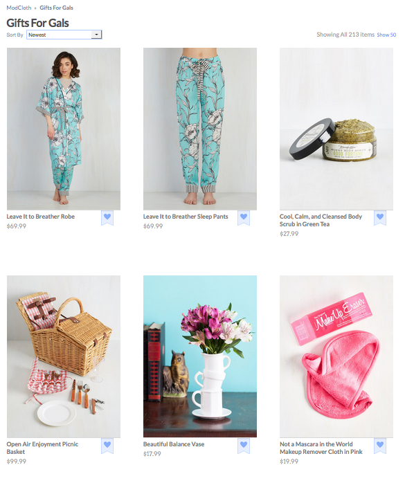 Modcloth gifts for gals ecommerce page