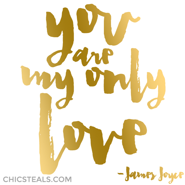 You are my only love quote gold typography