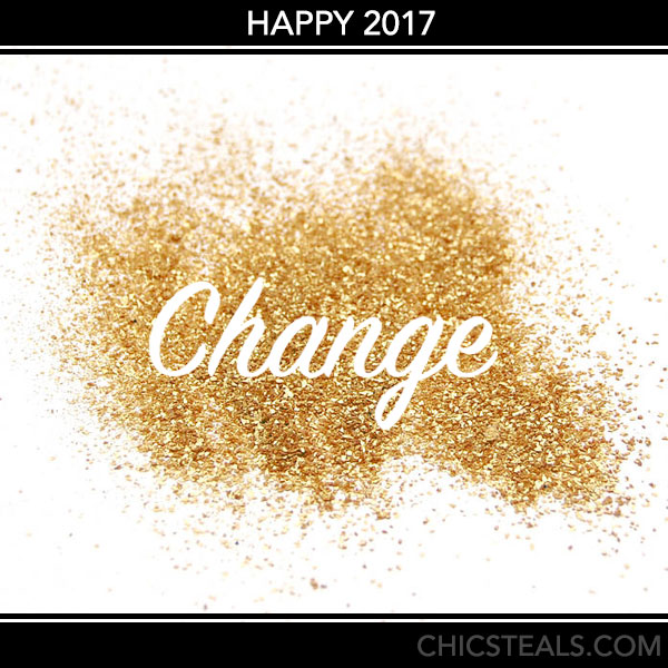Happy 2017 from Chic Steals glitter announcement