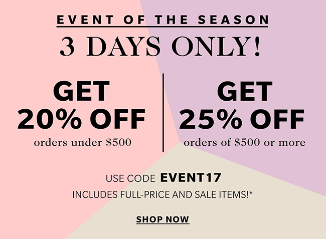 Shopbop Event of the Season Spring 2017 Sale information