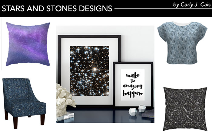 Stars and Stones by Carly J. Cais repeating crystal and star patterns