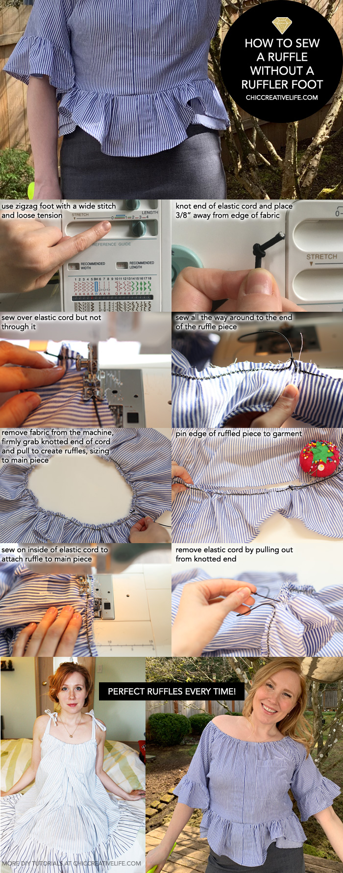 how to sew a ruffle without a ruffler foot step by step pinterest graphic chic creative life