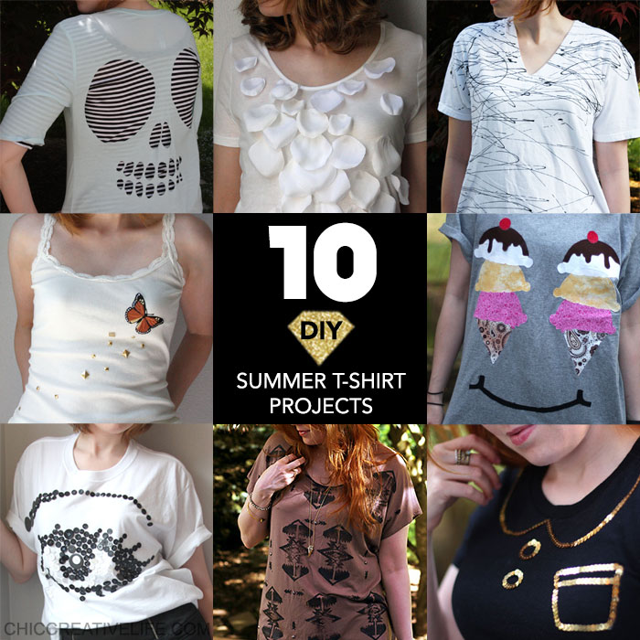 10 No-Sew DIY Summer Projects for T-Shirts and Tank Tops by Chic Creative Life